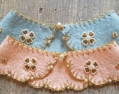 Adorable NOS felt embroidered 1950s collar. So feminine and sweet . One Pink & One Blue