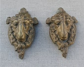 pair antique french brass ram head, satyrs, Pan, rare furniture trim, mounts, hardware, furniture restoration, unique 19th century ornament