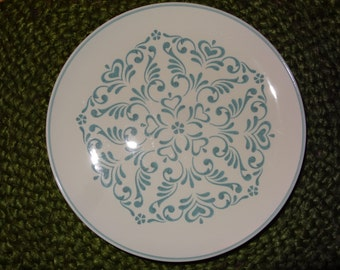 Set of 6 Interpace Blue Fancy Whitestone Ware Dinner/Sandwich Plates / Interpace