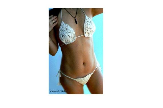 White crochet brazilian bikini. Sexy low rise women bikini. Boho crochet swimsuit. White crochet bikini set. Fashion crochet swimwear.