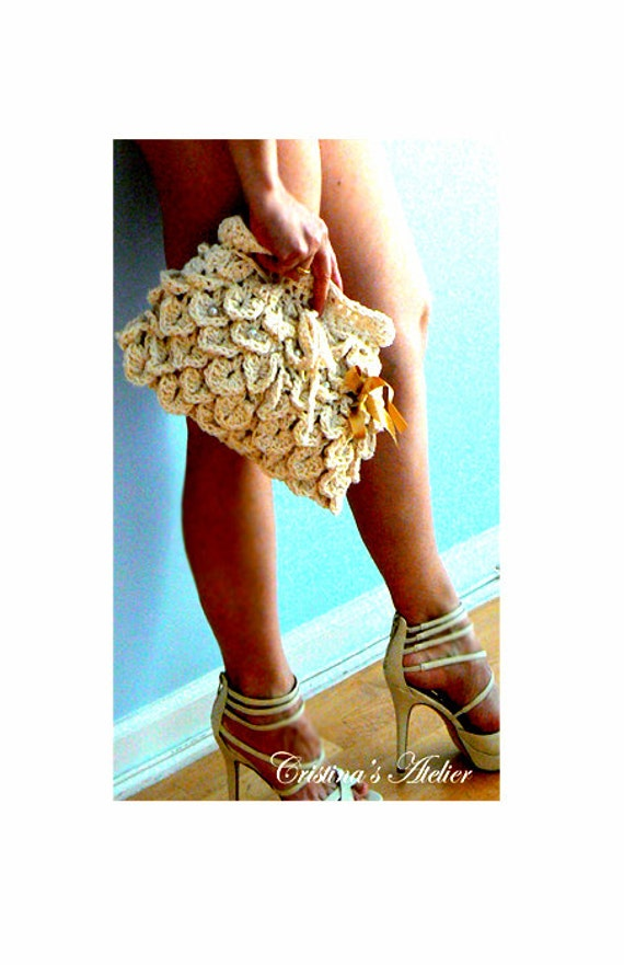 Petals crochet purse- Off white boho clutch- Summer crochet bag - Women handbag -Mermaid crochet purse- Casual crochet clutch
