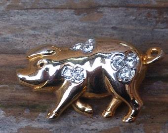 vintage rhinestone pig brooch