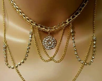 Gold Necklace Gold Bib Necklace Gold Chain Rhinestone Necklace Charm Statement Necklace Charm Necklace Diamond Necklace Gift Boho Jewelry