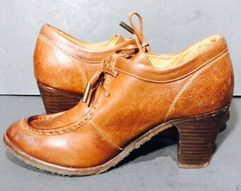 Frye 74371 Moc Brown Leather Heel Loafers Women's Shoes Size 7