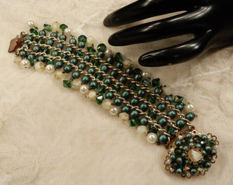 Vintage Green Satin Glass Beads, Green Bicone Crystals an Faux Pearl Dangly Bead Bracelet