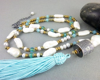Anne Choi Talisman Bead & Pearl Necklace, White Pearl Long Tassel Chakra Necklace, Artisan Sterling Silver Bead with Turquoise Tassel