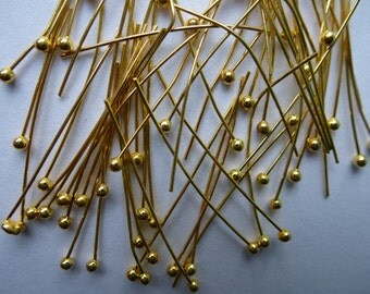 Ball headpins.  Gold plated copper    40mm x0.5mm.  Set of 100.  Lead and nickel free