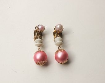 FREE SHIPPING! Vintage Clip-On Earrings - Costume Jewelry - Pink Bead Dangle