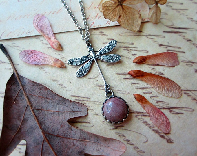 "Dainty necklace ""Dragonfly"" with purple mookaite. Sterling silver findings. Custom length stainless steel chain."