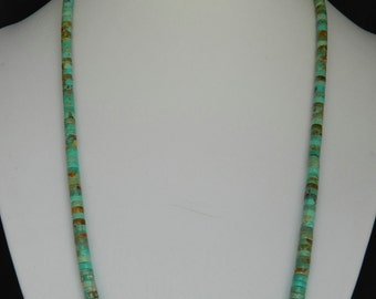 Native American Navajo Graduated Green Turquoise Heishi Sterling Necklace Helen Tsosie 17 3/4 - 21 3/4