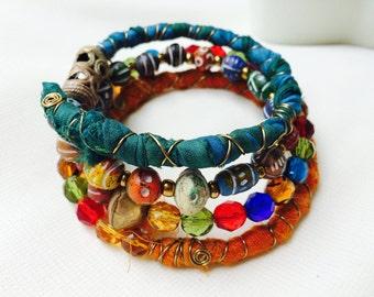 Handmade Bohemian Wrap Bracelet Multilayered Colorful Boho Hippie Wraparound Recycled Sari Silk Ghana Czech Terra Cotta Beads On Memory Wire