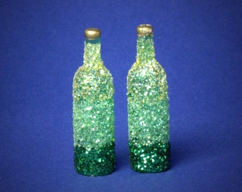 Decorative Miniature Bottle Shades of Green for your Dollhouse