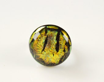 Handmade ring  made of  fused glass Jewelry from Ukraine Dichroic ring