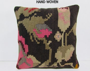 Kilim Pillow Boho Throw Pillow 16x16 By Decolickilimpillows