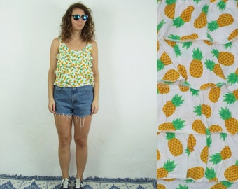 90's vintage women's white top with ananas printed frilly top