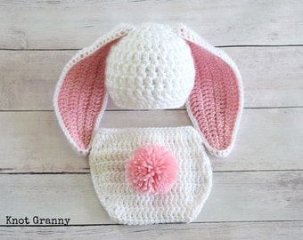 Newborn Bunny Hat - Baby Bunny Hat and Diaper Cover Set - Boy Bunny Hat – Girl Bunny Hat – Newborn Easter Bunny Set – Bunny Diaper Cover