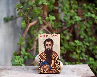 Saint Basil the Great of Caesaria-  Eastern orthodox miniature- byzantine greek icon, religious painting- Agios Vasileios, orthodox gift