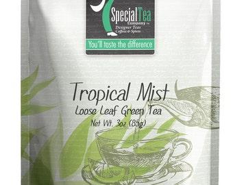 3 oz. Tropical Mist Green Loose Tea Includes Free Empty Tea Bags & Infuser