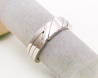 AXIS - Unique Puzzle Rings by PuzzleRingMaker - Sterling Silver or Gold - 3 Bands