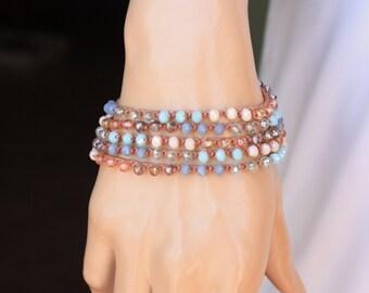 Cinnamon  Crocheted Necklace/Five Wrap Bracelet , Boho Chic Bracelet