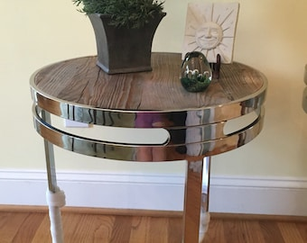 Stainless Steel reclaimed wood side table!