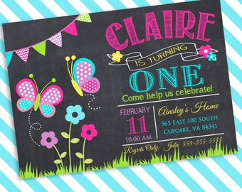 Butterfly Birthday Party Invitation, Flower Birthday Invitation, Spring Birthday Invitation