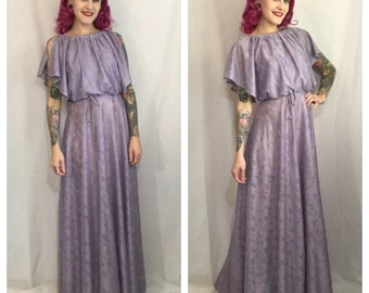 Vintage 1970's Lavender Open Shoulder Maxi Dress
