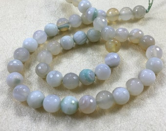 8mm Agate Faceted Beads  ,   Natural Agate Stone Beads , Agate Beads , Agate Stone Beads , Gemstone Beads ,Stone Beads ,