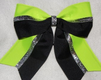 Black and Neon Lime Hairbow