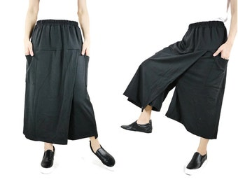 Pants With Skirt - Balck Medium Weight Cotton Mix Polyester Jersey Pants With Skirt & 2 Pockets For Fall Autumn Spring - P065