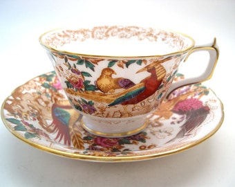 Royal Crown Derby Tea Cup and Saucer, Olde Avesbury, Golden Red Pheasant.