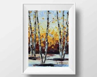 Birch Tree Print, Landscape Art, Palette Knife, 8x10 Print, Tree Art, Tree Print, Tree Art, Birch Trees, Birch Wood,Palette Knife,Lisa Elley