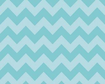 Aqua Tone on Tone Medium Chevron Fabric by Riley Blake Designs. 100% cotton, Turquoise Blue Zig Zag C380-24