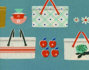 """Picnic from Melody Miller @ Cotton + Steel. """"Picnic Baskets Blue"""" - Picnic baskets, apples & flowers. 100% Cotton. 0018-1 - By the 1/2 Yard"""