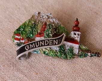 Gmunden Silver Souvenir Brooch Gmunden Jewelry Repurpose Reuse Wear