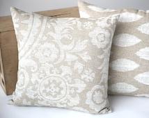 One Beige Burlap Euro Sham fits on 24x24 or 26x26 inch pillow/ 11 sizes / 16x16 18x18 20x20 22x22 24x24 26x26 28x28 Neutral Bohemian-KOQG