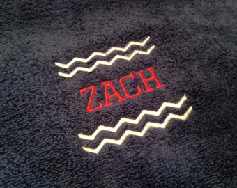 Personalized Chevron Bath Towel