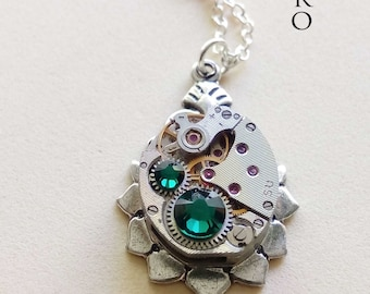 Steampunk necklace The Helios green - steampunk jewellery - steampunk jewelry - watch necklace  woman steampunk necklace  victorian jewelry