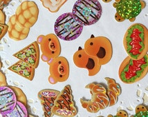 71 Animal Shaped Bread stickers Teddy bear sticker bear bread Adorable animal bead cute teddy flake sticker baking planner sticker bear gift
