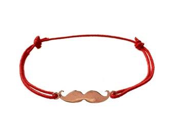 Adjustable Sterling Silver Moustache Bracelet in Red Polyester Braid
