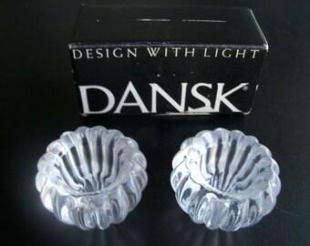 Dansk Swirl Tiny Crystal Taperholders In Box