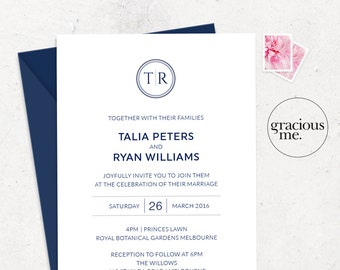 Wedding Invitation & RSVP Card - Printable - Wedding Invitation Set - Navy