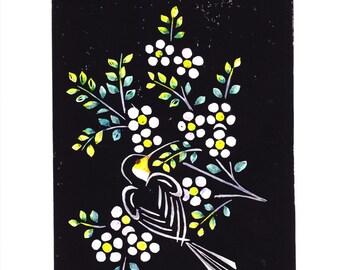 Watercolour Tinted, Lino Cut Prints