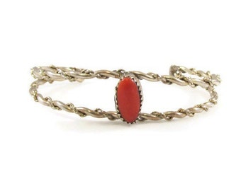 Stunning Natural Red Coral and Sterling Silver Cuff Bracelet