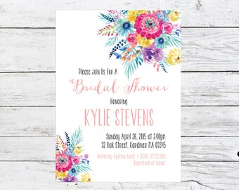 Floral Bridal Shower Invitation | Customizable Shower Invite | Spring Shower Invitation