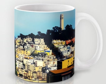 San Francisco, Telegraph Hill, View From Lombard Street, Coit Tower, Ceramic Coffee Mug