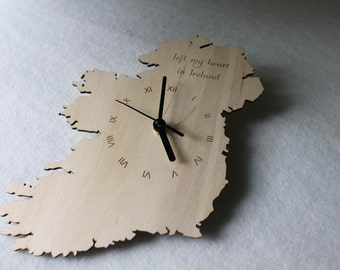 Custom Unique  Bespoke Ireland Shape Clock Irish Map Wooden