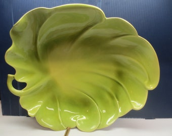 Fabulous Harold Johnson California Pottery Large Leaf Dish Plate