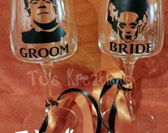 Frankenstein bride of frankenstein bride and groom wine glasses halloween