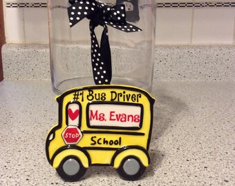 Personalized School Bus Ceramic Keepsake